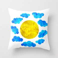 Cute blue cartoon clouds and sun. Throw Pillow