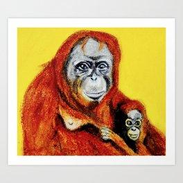 Yellow Orangutan Mother and Daughter Art Print