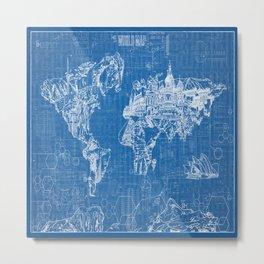 world map blue print Metal Print