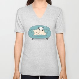 Kawaii Lazy Panda and Polar Bear Unisex V-Neck