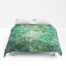 Green Blobs Comforters