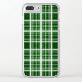 Christmas Tree Green Tartan Plaid Check Clear iPhone Case