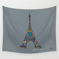 eiffel tower Wall Tapestries featuring eiffel tower by PINT GRAPHICS