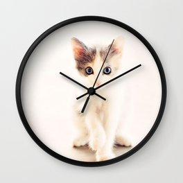 White and Grey Kitten Wall Clock