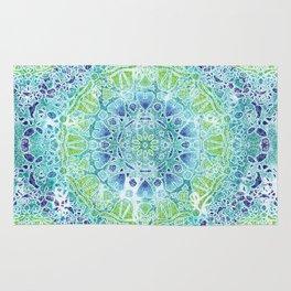 Blue Greenery Tie-Dye Mandala Rug