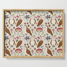 Woodland Owls Pattern Serving Tray