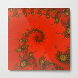 Red fractal. Abstract pattern Metal Print