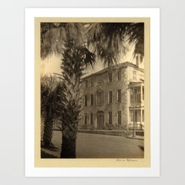 Doris Ulmann  (1882–1934), Three-story stone building with porches and columns, palm tree in foregro Art Print