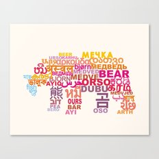 Bear in Different Languages Canvas Print