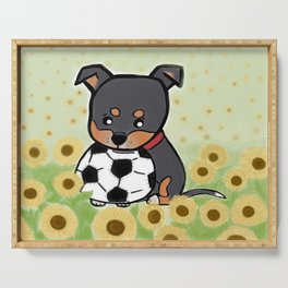 Charlie pup, Black Terrier pup Serving Tray