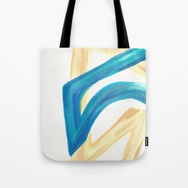 Vanilla in the Leaves 1 - Abstract painting in modern bright blue, cream and soft yellow Tote Bag