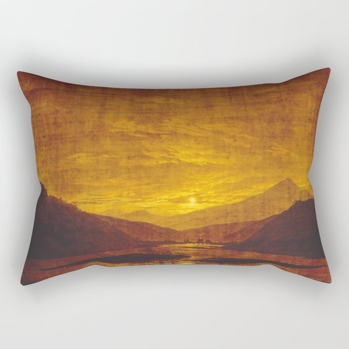 Caspar David Friedrich / Mountainous River Landscape Rectangular Pillow