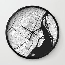 Montreal Map Gray Wall Clock