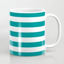 CVS0086 Teal Blue and White Stripes Coffee Mug