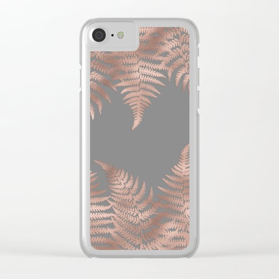 Rosegold fern leaves on grey Clear iPhone Case