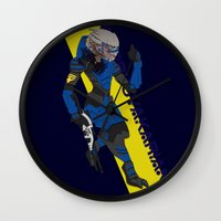 garrus Wall Clocks featuring Garrus Vakarian by KuroHyena