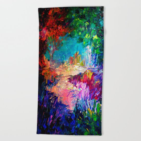 WELCOME TO UTOPIA Bold Rainbow Multicolor Abstract Painting Forest Nature Whimsical Fantasy Fine Art Beach Towel