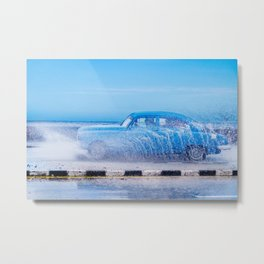 Waves and Classic Cars of the Malecón - 2 Metal Print