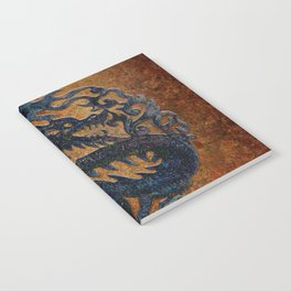Blue Chinese Dragon on Stone Background Notebook