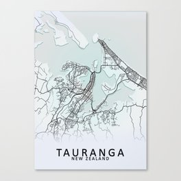 Tauranga, New Zealand, White, City, Map Canvas Print