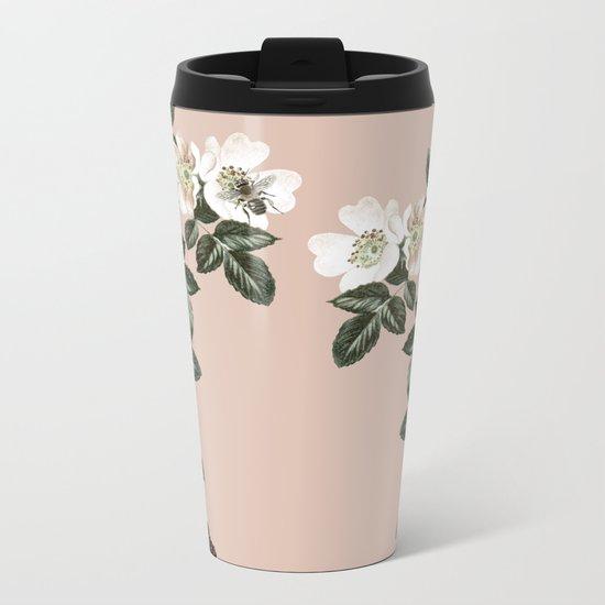 Bee Blackberry Bramble Coral Pink Metal Travel Mug