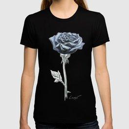 Rose 03b Botanical Flower * Blue Black Rose T-shirt