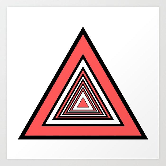 Red Black White Triangles Art Print