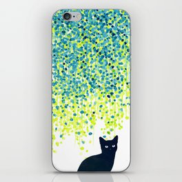 Cat in the garden under willow tree iPhone Skin