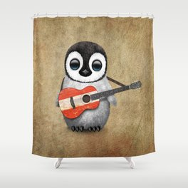 Baby Penguin Playing Austrian Flag Acoustic Guitar Shower Curtain