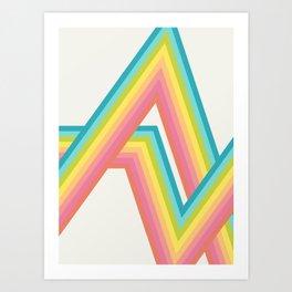Retro Rainbow Rays Art Print