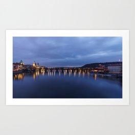 Charles Bridge just after sunset Art Print