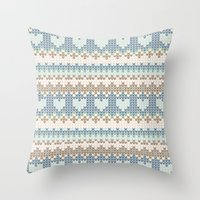knitting Throw Pillows featuring knitting by alisblack