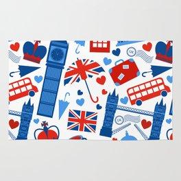Fondo de patrón sin fisuras con hitos de Londres y símbolos de Gran Bretaña ilustración vectoria Rug
