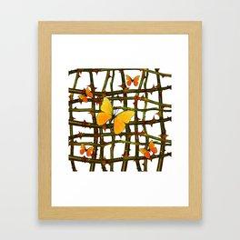 GOLDEN BUTTERFLIES THORN BRANCHES TRELLIS  PATTERN Framed Art Print