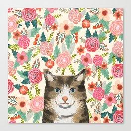 Cat floral pet portrait tabby cats Canvas Print