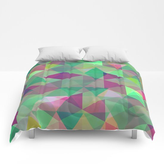 Pastel Triangles Pattern - Abstract, geometric, pastel coloured artwork Comforters