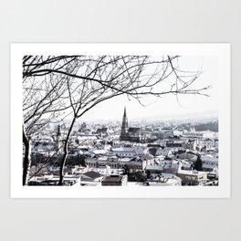 Cluj Under Snow Art Print