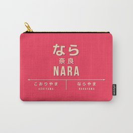 Retro Vintage Japan Train Station Sign - Nara City Red Carry-All Pouch
