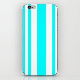 Mixed Vertical Stripes - White and Aqua Cyan iPhone Skin