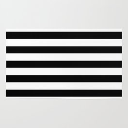 Midnight Black and White Stripes Rug