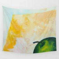 apple Wall Tapestries featuring Apple by Red Drago