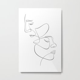 Abstract Face Couple Line Art Metal Print