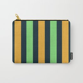 Modern Decorative Orange Green Vertical Pattern Stripes Carry-All Pouch