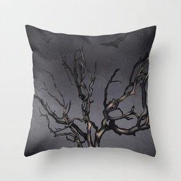 Dead Tree with Bats Throw Pillow
