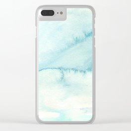 Abstract hand painted blue teal watercolor paint pattern Clear iPhone Case