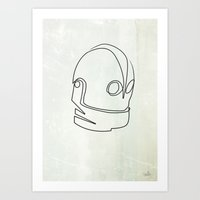 iron giant Art Prints featuring One line Iron Giant by quibe