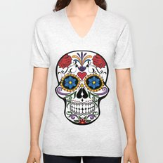 Colorful Sugar Skull Unisex V-Neck