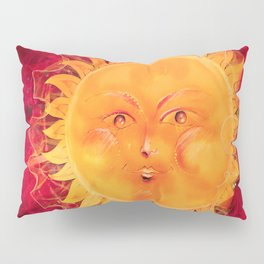 Digital painting of a chubby sun with a funny face Pillow Sham