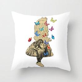 Alice In Wonderland - Vintage Wonderland Book Throw Pillow