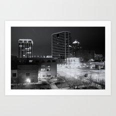 Downtown Greensboro At Night Art Print